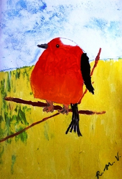 Brain Injury. Painting of round red robin on branch