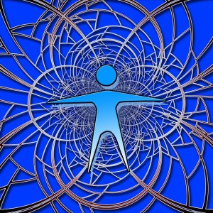 The Brain at Work Diagram shades of blue with human figure in centre with spirals out from body