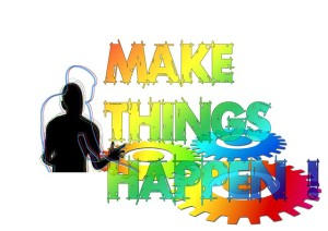 """Brain at work Multicoloured letters """"Make things happen"""""""
