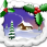 Celebration after brain injury Cartoon of snow covered house surrounded by snow covered trees with border of Holly sprigs