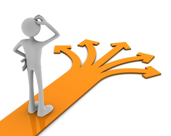 Decision making after brain injury. Grey cartoon figure scratching his head while standing on orange arrow with five direction points