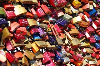 Short Term Memory to Long Term Memory - Many coloured padlocks on a fence