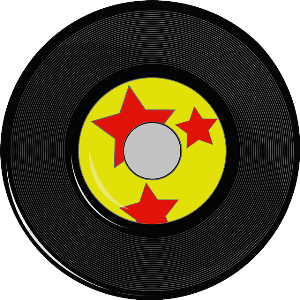 Brain Injury Misunderstood Cartoon Black vinyl record with yellow and red stars in centre