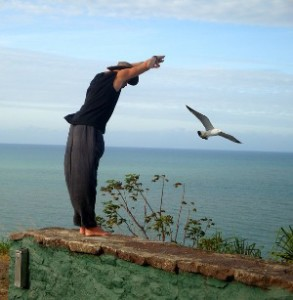 Parietal lobes Bird flying with Man standing on cliff as if about to fly