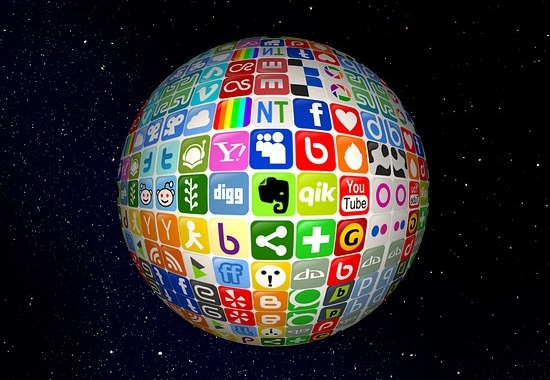 Globe with many online icons