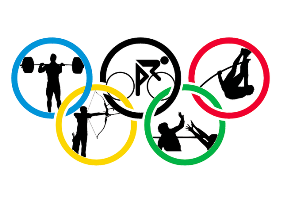 Brain injury and fundamental attribution error Cartoon of olympic rings and sports activities