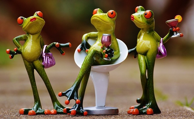Brain Injury and Fundamental Attribution Error Cartoon of three green frogs holding drinks and handbag