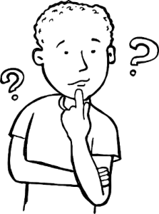 Brain Injury and Fundamental Attribution Error. Cartoon black and white line drawing of male with finger on chin and 2 question marks around him.