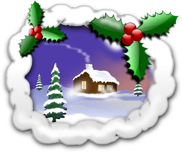 Celebrations After Brain Injury Clipart snow scene with holly leaves, snow covered fir trees and log cabin