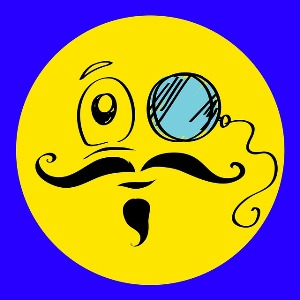 Fatigue after brain injury Yellow smiley face with monocle, moustache and beard.