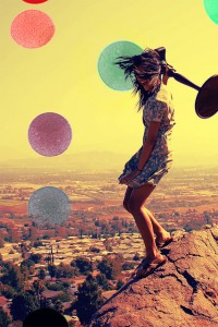 Impulsivity after brain injury. Colourful image of a windswept woman on a hilltop holding up a table