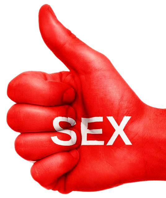 Intimacy Sex and Brain Injury Hand thumbs up painted red with word SEX written across in white letters