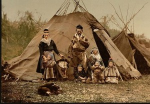 Family support after brain injury. Sepia photo of Lapp family in native costume