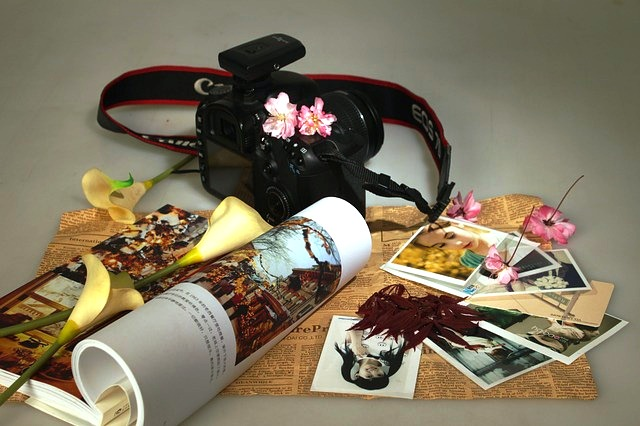 Memory after brain injury Coloured photo of camera, photos and other memories