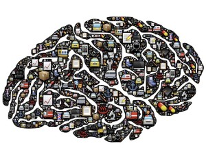 Brain Injury Misunderstood Drawing of brain with pictures covering surface