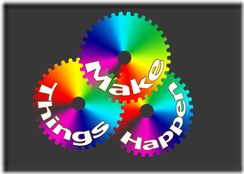 Make things happen in words on three rainbow coloured circles.