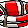Self care drawing red and white lifebouy with rope attached