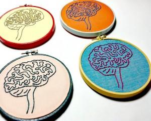 Tapestry of brain outlines. Neurodiversity