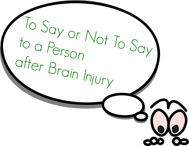 To Say or Not to Say After Brain Injury. Cartoon figure with thought bubble