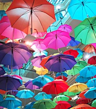 Many coloured umbrellas. Creativity and Brain Injury