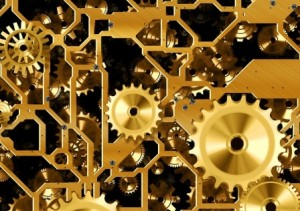 gold coloured clock workings. Gadgets, Gizmos and Technology for People with Brain Injury